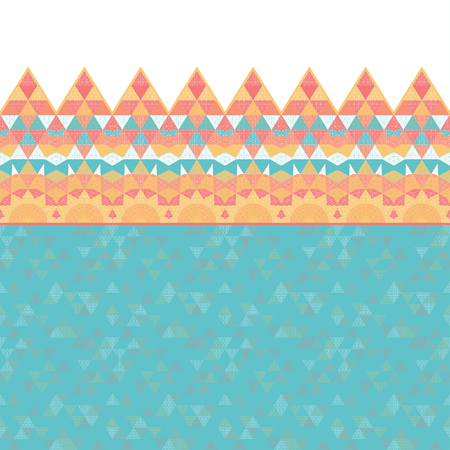 Seamless vector background with borders. Grid and triangles.