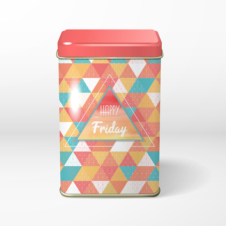 Vector object. Square tin packaging with multicolored triangles and grid and inscription