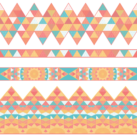 Set of vector seamless borders. Grid and triangles. Illustration