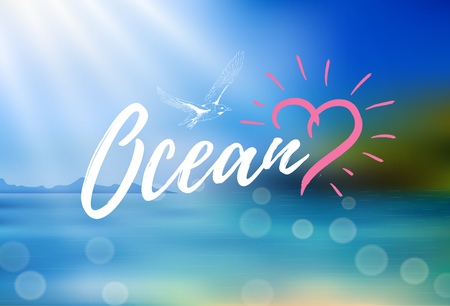 Vector background with rays of sun and island. Inscription