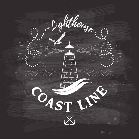 Vector background with lettering - Coast line. Lighthouse and seagull on chalk board. 矢量图像