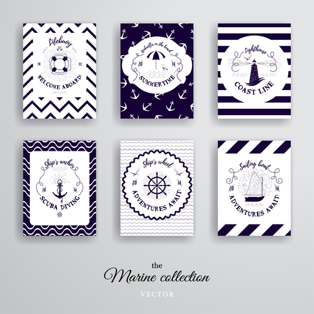 Vector cards. Patterns with lifebouy, boat, seagulls, anchor, steering wheel and lighthouse. Nautical style.