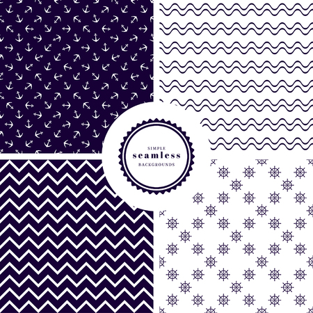 Set of four vector backgrounds. Zigzag, waves, anchors and steering wheels. Marine style.