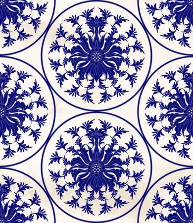 Fond aquarelle transparente de vecteur. Motifs ronds floraux. Imitation de la peinture sur porcelaine chinoise.