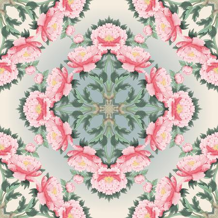 Seamless vector background. Square pattern of peonies. Illustration imitates traditional Chinese ink painting. Inscription Peonies garden. Vektoros illusztráció