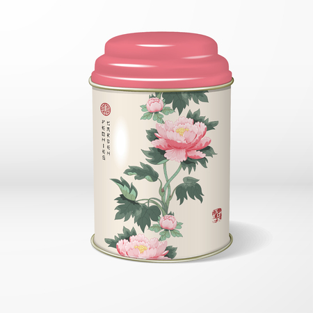 3D vector round tin packaging with a figured cover with peonies. Tea, coffee, dry products. Illustration imitates traditional Chinese ink painting.  Place for your text.