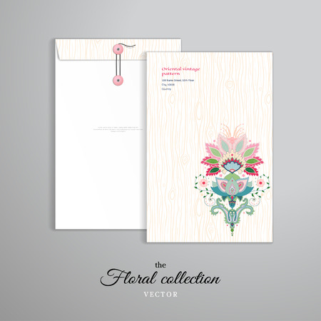 Vector template. Vertical big envelope with buttons. Background with hand drawing wooden texture. Oriental traditional flower pattern.