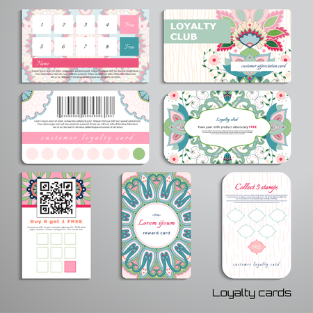 Set of loyalty cards. Pattern with indian flowers and different backdrops. Hand drawing. Place for your text.