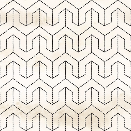 Vector seamless background. Pattern with stitches in the style of embroidery Sachiko. Hand drawing watercolor backdrop.