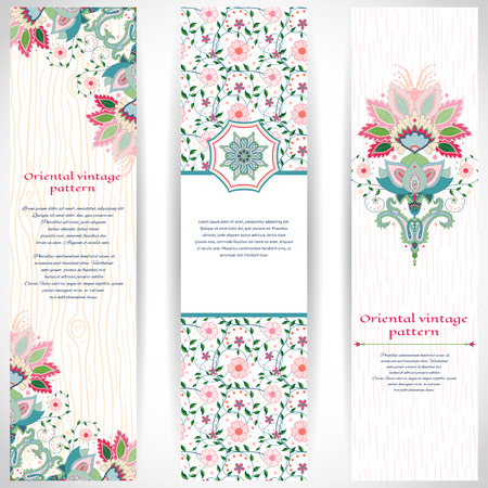 Set of three vertical banners with imitation of wooden texture and strokes on backdrop. Bright traditional oriental flowers. Place for your text. Illustration
