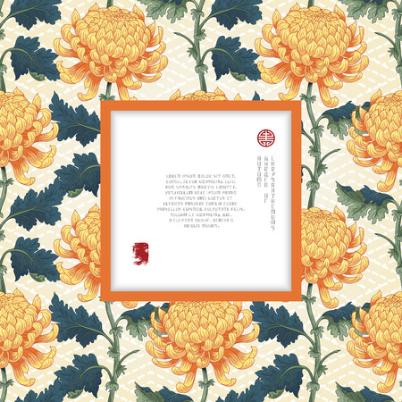 Vector square frame for your text. Japanese embroidery on seamless backdrop. Branch of chrysanthemum flowers and leaves. Inscription Autumn garden of chrysanthemums.