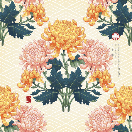 Vector seamless background. Beautiful symmetrical branch of chrysanthemum flowers and leaves in Japanese style on backdrop with embroidery. Inscription Autumn garden of chrysanthemums.