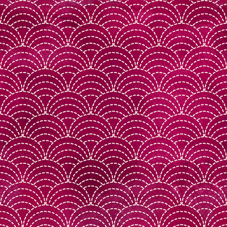 Seamless vactor background. Round patterns of stitches in style of Sachiko embroidery. Watercolor backdrop. Hand drawing.