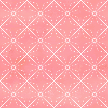 Vector seamless background with elegant ornament of stitches. Hand drawing watercolor backdrop. Sachiko embroidery.