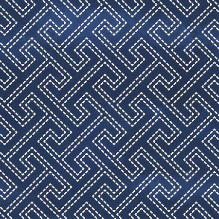 Seamless vector background. Blue watercolor background. Hand drawing. Pattern of stitches imitating Sachiko embroidery.