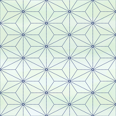 Vector seamless background with geometry pattern that imitating Sachiko embroidery. Watercolor background. Hand drawing.