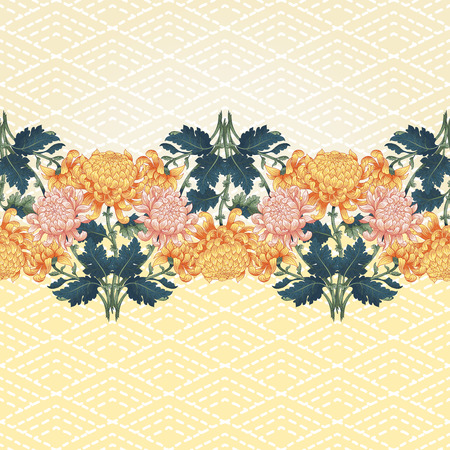 Vector seamless background with border in Japanese style. Pattern with chrysanthemum flowers and imitation of embroidery on backdrop. Illustration