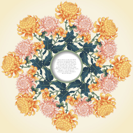 Vector card with floral round pattern. Branches of chrysanthemum flowers and leaves. Frame for your text.