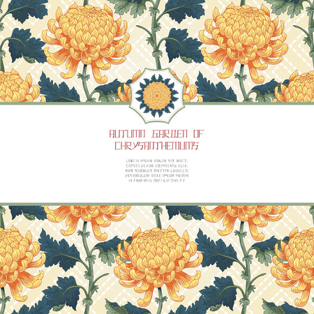 Vector card with branches chrysanthemum flowers on backdrop with embroidery. Inscription Autumn garden of chrysanthemums. Japanese style. Place for your text.