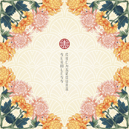 Seamless vector background with corner pattern of branches of Japanese chrysanthemum flowers. Imitation of embroidery on backdrop.