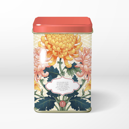 3D vector object. Square tin packaging. Tea, coffee, dry products. Symmetrical branch of chrysanthemum flowers and japanese embroidery on backdrop. Frame for your text.