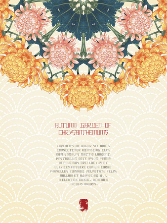 Vector card. Japanese embroidery on backdrop. Chrysanthemum flowers and leaves. Inscription Autumn garden of chrysanthemums. Place for your text. Illustration