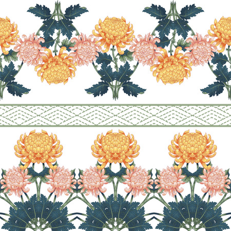 Set of vector seamless borders of Japanese chrysanthemum flowers and embroidery. Illustration