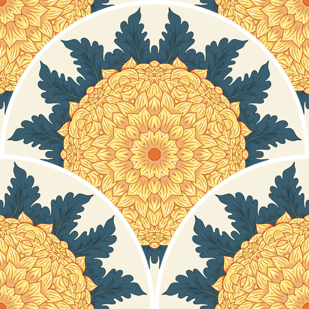 Vector seamless background. Round pattern of Japanese chrysanthemum flowers and leaves.