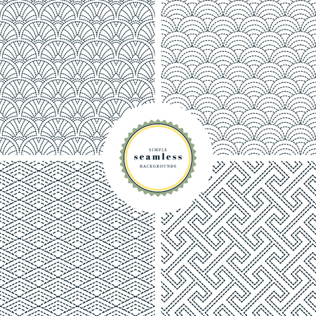 Vector set of four backgrounds with embroidery in Japanese style. Round, square and linear patterns. Çizim