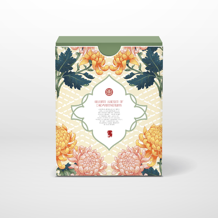 3D vector cubic box template. Chrysanthemum flowers on backdrop with imitation of embroidery. Japanese style. Inscription Autumn garden of chrysanthemums. Frame for your text. Illustration