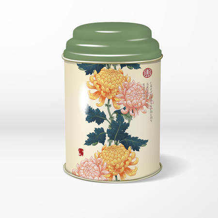 3D vector round tin packaging with a figured cover. Tea, coffee, dry products. Pattern with chrysanthemum flowers. Japanese style. Inscription Autumn garden of chrysanthemums. Place for your text.