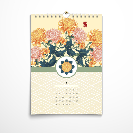 Vector illustration. Spiral calendar with round pattern of chrysanthemum flowers in Japanese style. Embroidery on backdrop. Realistic shadows.