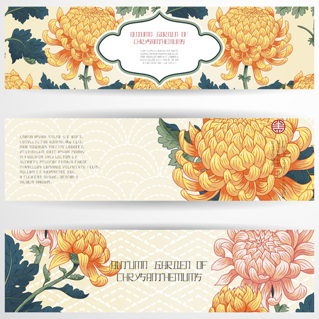 Set of three horizontal banners. Japanese embroidery and chrysanthemum flowers. Inscription Autumn garden of chrysanthemums. Place for your text.