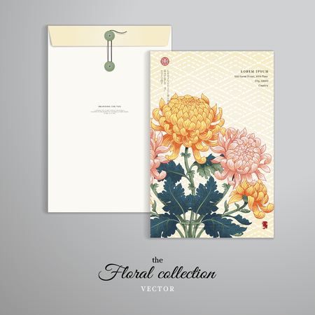 Vector template. Vertical big envelope with buttons. Branch of chrysanthemum flowers and leaves. Embroidery on seamless backdrop. Japanese style. Inscription Autumn garden of chrysanthemums. Çizim