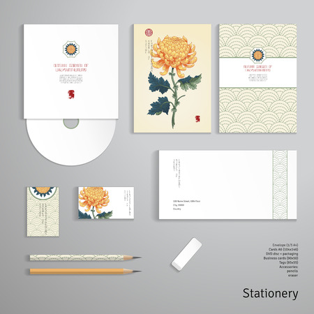Vector identity templates. Envelope, business card, cards, tag, disc with packaging, pencils. Branches of yellow chrysanthemum flowers in Japanese style. Imitation of embroidery on backdrop.