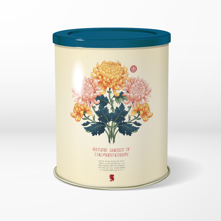 3D vector round tin packaging. Tea, coffee, dry products. Symmetrical branch of chrysanthemum flowers and leaves. Japanese style. Inscription Autumn garden of chrysanthemums. Place for your text. Çizim