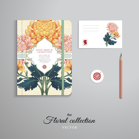 Set of notebook, pencil, tag and card. Figured frame. Beautiful symmetrical branch of chrysanthemum flowers and leaves on backdrop with embroidery. Inscription Autumn garden of chrysanthemums. Çizim