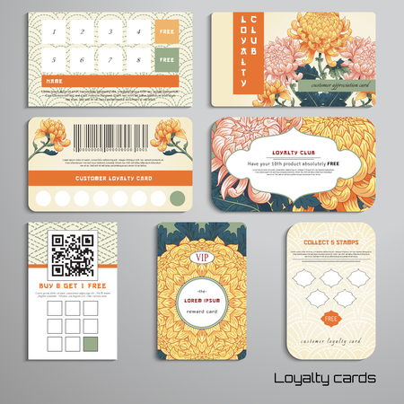 Set of loyalty cards. Chrysanthemum flowers in Japanese style. Imitation of embroidery on backdrop. Inscription Autumn garden of chrysanthemums. Place for your text.