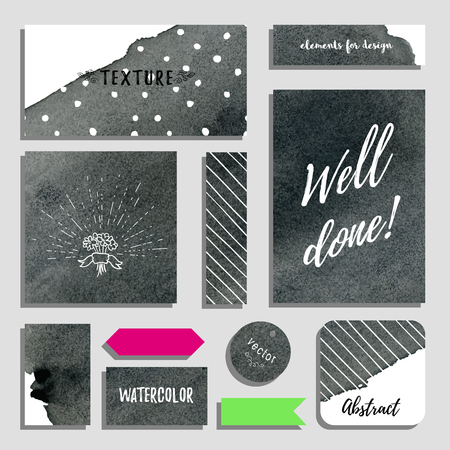 Vector set of cards, postcards and tags for design. Inscription Well done. Watercolor hand drawing backdrop. Realistic shadows.