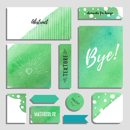 Vector set of cards, postcards and tags for design with hand drawing watercolor background. Inscription Bye. Realistic shadows.