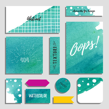 Vector set of cards, postcards and tags for design. Watercolor hand drawing background. Inscription Oops. Realistic shadows.