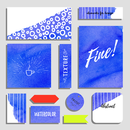 Vector set of cards, postcards and tags for design. Background with watercolor backdrop. Inscription Fine. Hand drawing. Realistic shadows.