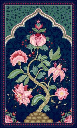 Baum des Lebens im schönen indischen Zierrahmen. Die Motive der Malereien alter indischer Stoffe. Dunkle Kulisse. Baum des Lebens-Sammlung.