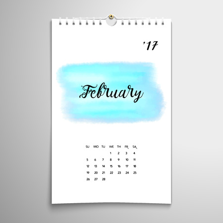 Vector spiral calendar with hand drawing watercolor pattern. Realistic shadows. Inscription - February. Illustration