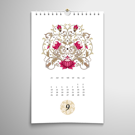 Vector spiral calendar with beautiful fantastic floral pattern. Delicate ornament in small circle. September.