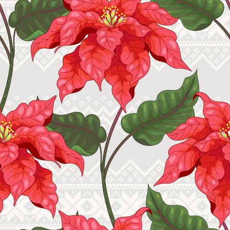 Seamless vector background. Branches of poinsettia flowers on Scandinavian ornament. Christmas collection.
