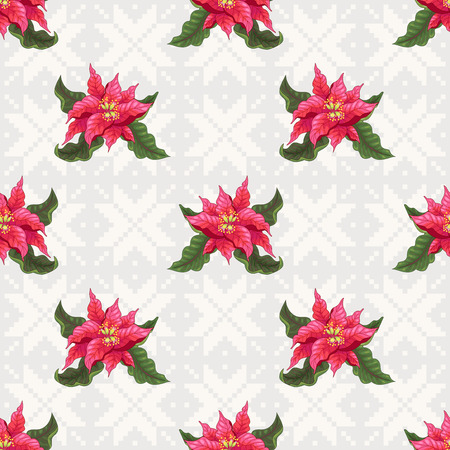 Vector seamless background with norwegian ornament. Christmas Star flowers. Christmas collection.