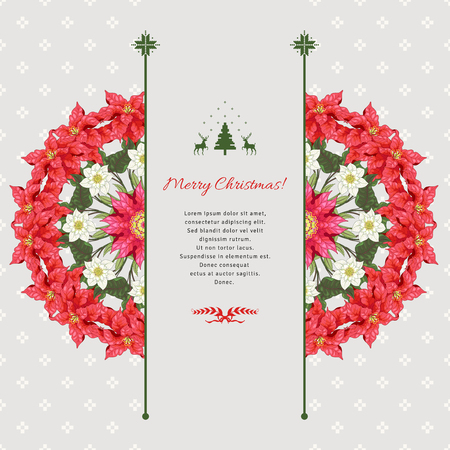 Vector card. Scandinavian ornament on backdrop. Round pattern with branches of poinsettia and hellebore flowers. Christmas collection. Place for your text.