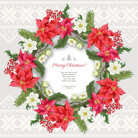 Vector card. Wreath with fir-tree and holly branches, poinsettia and hellebore flowers. Scandinavian ornament on backdrop. Christmas collection. Frame for your text. Vector Illustration