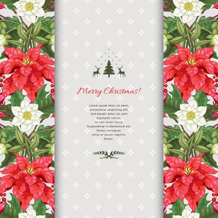 Vector card with floral borders. Poinsettia flowers, holly and hellebore. Insertion with scandinavian ornament. Christmas collection. Place for your text.